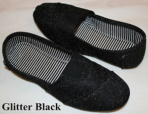 Brand-New-Womens-Classic-Slip-On-Flat-Casual-Shoes-Glitter-Black-Color
