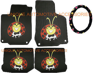 98-10 Vw Beetle Lady Bug Color Custom 5pc Rubber Floor Mats Steering Wheel Cover