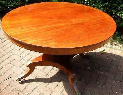 Ahorn Runde Tisch (Runder Empire Biedermeier Tisch mit Mittfuß Mahagoni  Ahorn Fäden norddt. 1830)