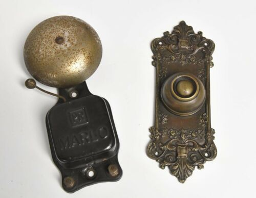 VINTAGE DEC0RATIVE BRASS DOOR BELL WITH MARLO RINGER