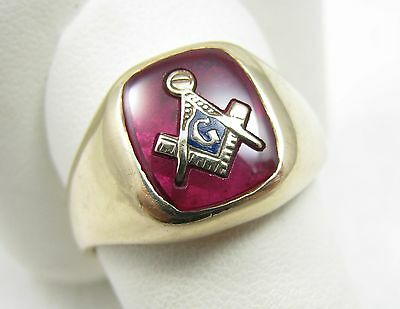 Vintage 14k Solid Yellow Gold Enamel Ruby Mens Masonic Mason Ring Size 10.5