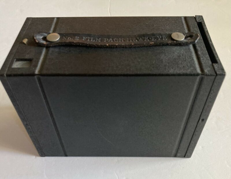 Antique Kodak No. 2 Film Pack Hawk-Eye Black Metal Box Camera, Shutter Works!