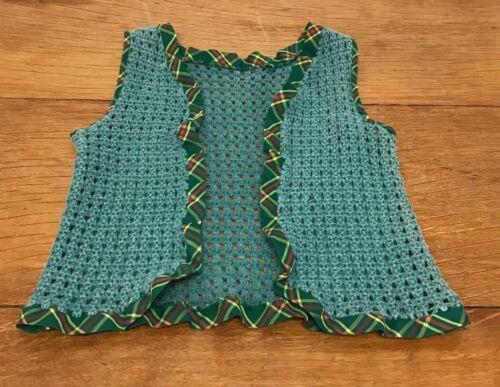 Vintage Vest Open Front Hippy Toddler Girl Crochet Green Sleeveless 1960s Sz 2T