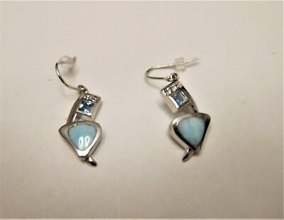 Used, Marahlago Curva Larimar Earrings with Blue and White Topaz & Pouch  for sale  Westerville