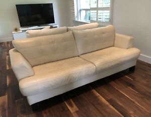 Beige Leather sofa by Cindy Crawford