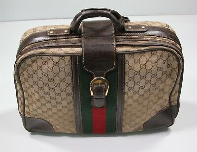 """Gucci Vintage 20"""" Suitcase Luggage Signature GG Monogram Canvas & Brown Leather"""