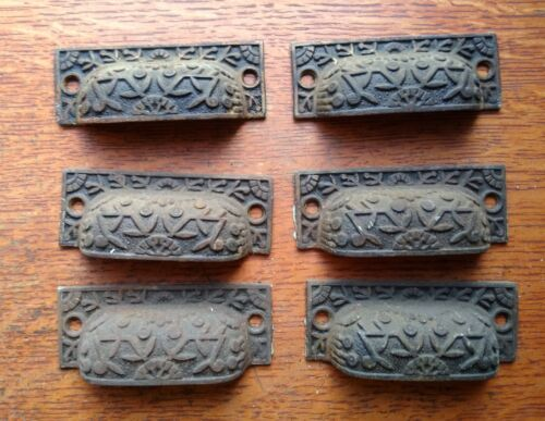 """Six Antique Fancy Iron Victorian Drawer Pulls """"Windsor"""" by Reading c1885"""