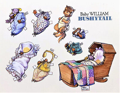 BABY WILLIAM BUSHYTAIL SQUIRREL PAPER DOLL POST CARD Large7x6 Rare MINT Shackman