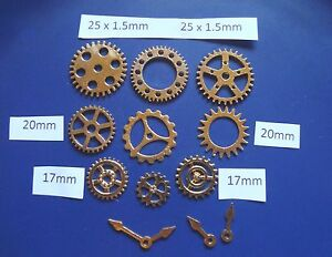 12 STEAMPUNK  METAL CHARMS GOLD COLOUR COGS AND GEARS