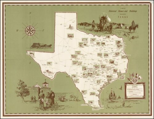 Texas famous homes and buildings 1957 pictorial map POSTER  Humble Oil 38112
