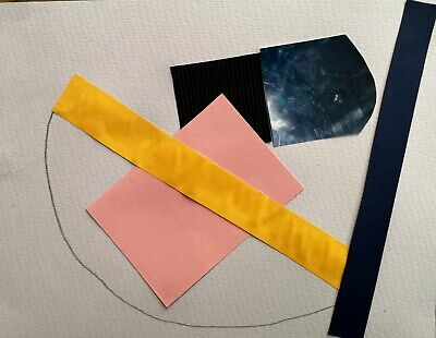 ST IVES ABSTRACT COLLAGE 32 BY NIGEL WATERS ORIGINAL PAPER & PENCIL COLLAGE *