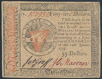#CC-98 $55 XF+ JAN 14,1779 CONTINENTAL CURRENCY HV8468