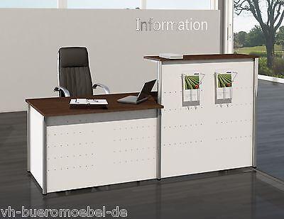 Empfangstheke City 2 Weiß/Wenge gerade Bürotheke Bürotresen Rezeption
