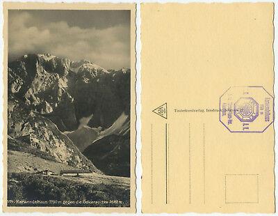 38183 - Karwendelhaus gegen Ödkarspitze - alte Ansichtskarte