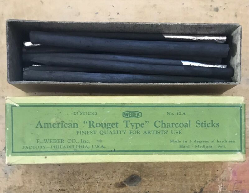 "Vintage American ""Rouget Type"" Charcoal Sticks F.Weber Co No. 12-A"