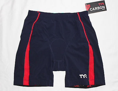 "New Men's TYR Red White Blue TEAM USA CARBON 9"" Tri Exercise Shorts w/ Pad - XS"