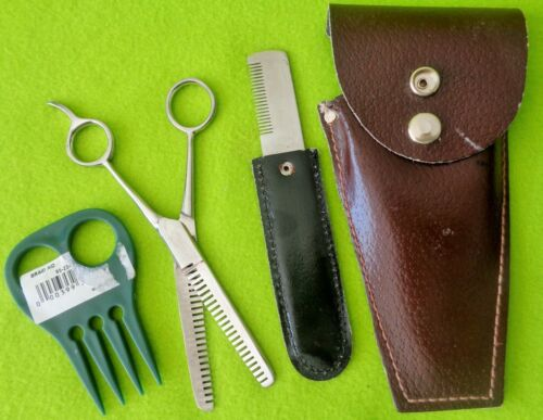 NEW Mane & Tail Trim KIT~STAINLESS Scissors ~Thin Shears~Strip Comb~Leather CASE