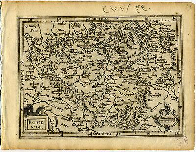 1607 Genuine Antique map of Bohemia. Czechoslavakia. Prague. by Mercator/Hondius