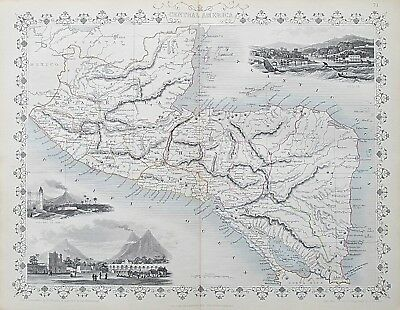 c1854 CENTRAL AMERICA Genuine Antique Map by Rapkin Outline Hand Colouring