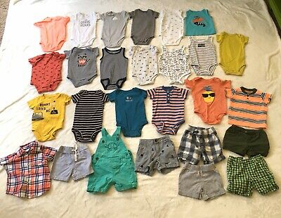 6-12, 9 Month Baby Boy Summer Clothes Shorts Shirts Swim Suit 45 Piece Lot PJS