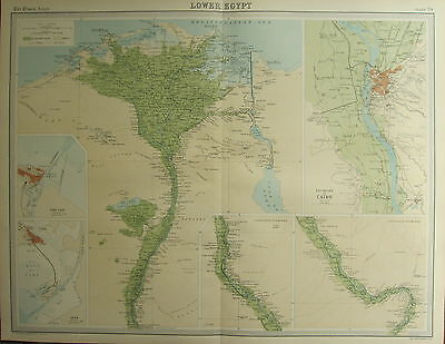 1922 LARGE ANTIQUE MAP ~ LOWER EGYPT ~ ENVIRONS CAIRO PORT SAID SUEZ