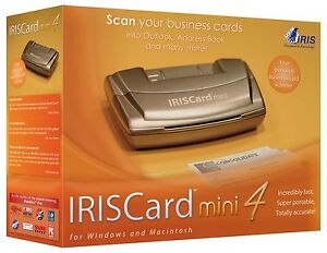 IRISCard mini 4 Black & White Business Card Scanner & Software Reader & Organize