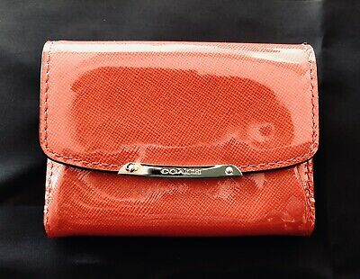 COACH Patent Leather Flap Card Case - Orange with Brass Hardware