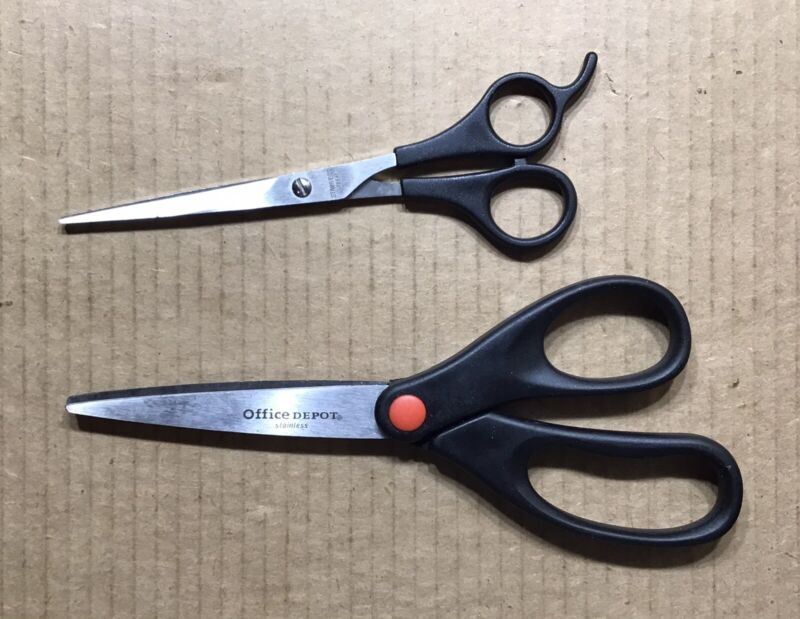 Pair of Black Handled Scissors ~ 6 and 8 Inches ~ Office Depot & Unbranded