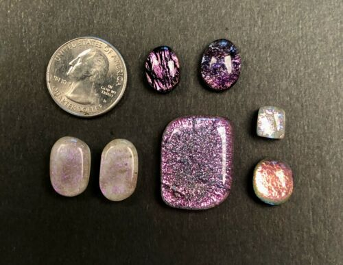 Lot of 7 OOAK dichroic cabochons in various pinks