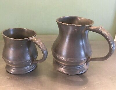 Vintage Pewter Tankards Brown and Englefield 1 pint and half pint George V