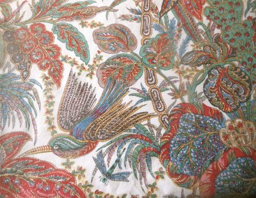 Antique Vtg. French Indienne Batik Floral Bird Cotton Fabric ~ Blue Red Green ~