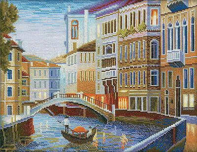 Cross Stitch Kit   Rto Night Venice Italian Canal W  Boat   Buildings  M199