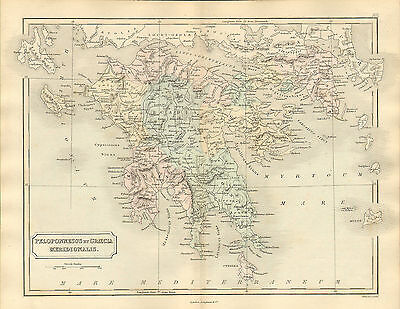 antient geography map by samuel butler 1869 -  peloponnesus et graecia