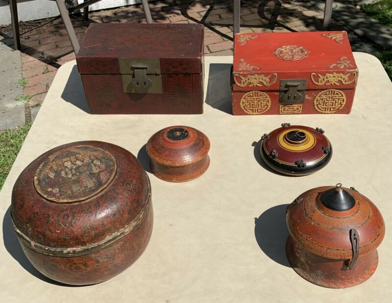 RARE ANTIQUE CHINESE LACQUERED WOOD BOX TURNED (6) LOT UNIQUE PAINTED