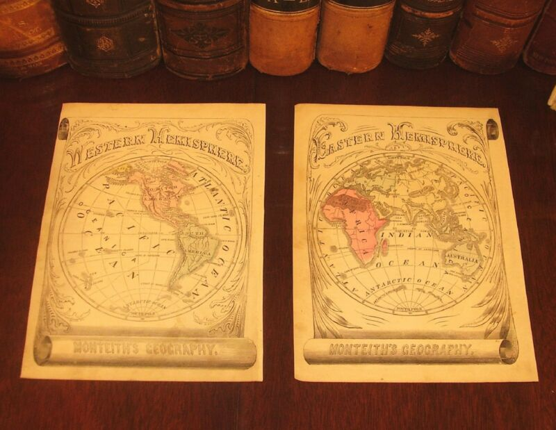 Fine Original 1855 Antique WORLD GLOBE HEMISPHERES Hand-Colored Engraved Maps