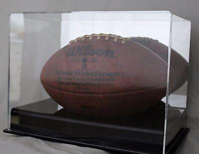 Premium Full Size Football Display Case with Mirrror Back & Black Acrylic Riser Black Acrylic Football Display Case