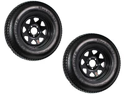 2-Pk Trailer Tire Rim ST205/75D15 15 in. Load C 5 Lug Black Spoke Wheel