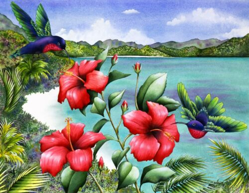 """Jigsaw Puzzle 300 Pieces Gold Edition """"Hummingbird on a Hibiscus"""" by Wuundentoy"""