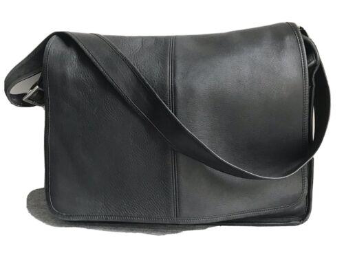 COACH Messenger Bag, Black Leather, 16-1/2 X 12-1/2 X 4 , VG Condition - $49.99