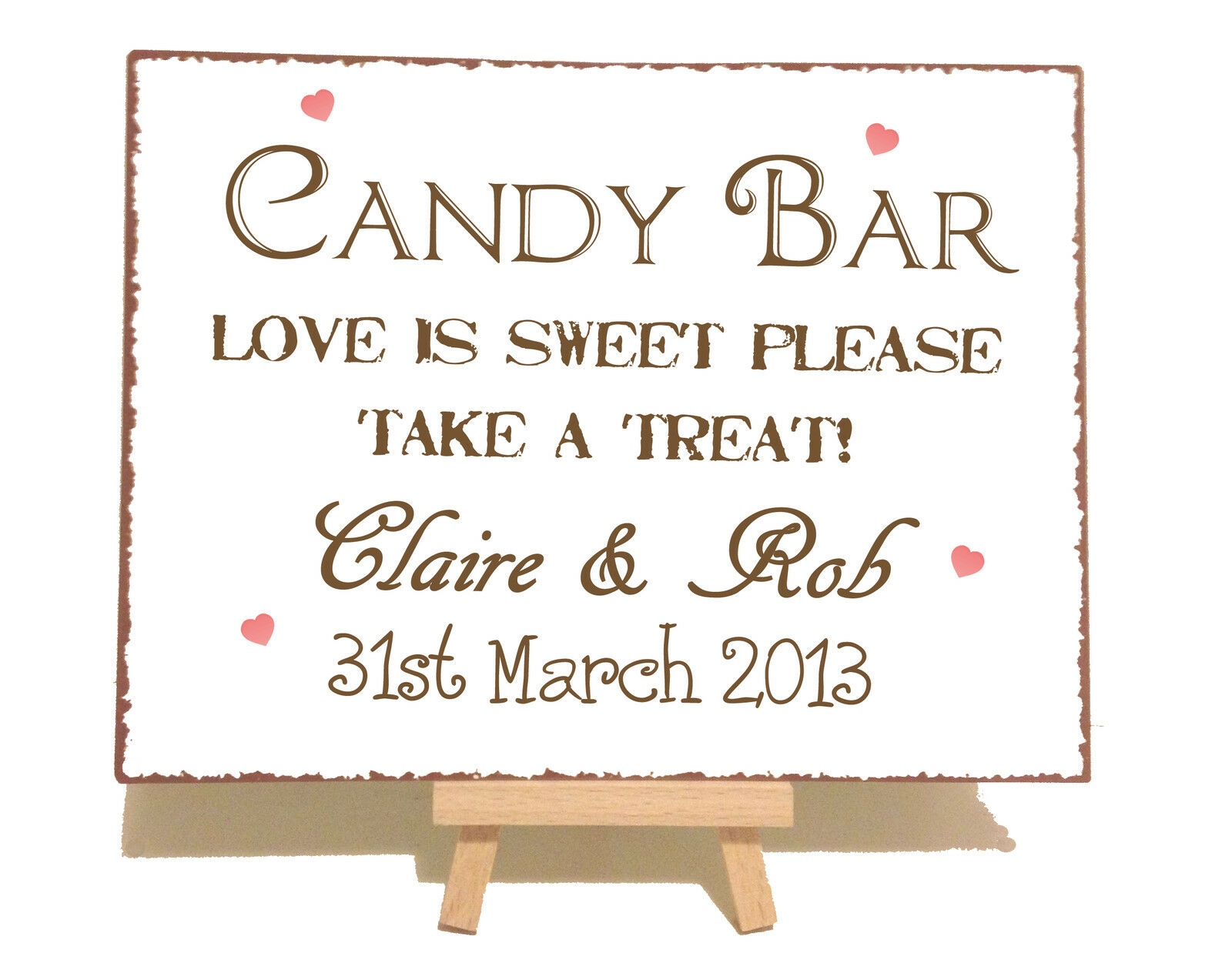 Personalised Candy Sweet Bar Cart Table Wedding Metal Vintage Style Plaque Sign