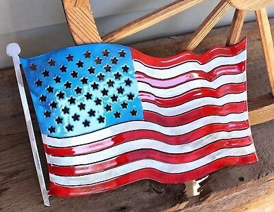 (Patriotic Colored American Flag Metal Wall Art  Small Size)