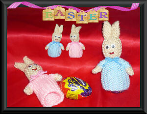 EASTER BUNNIES KNITTING PATTERN ( TO FIT CREME EGG'S)  IDEAL FOR BEGINNERS