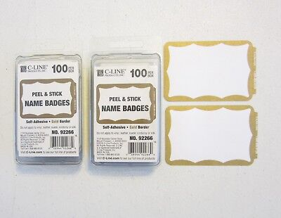 200 Gold Border Badges Name Tags Labels Id Stickers Peel And Stick Adhesive