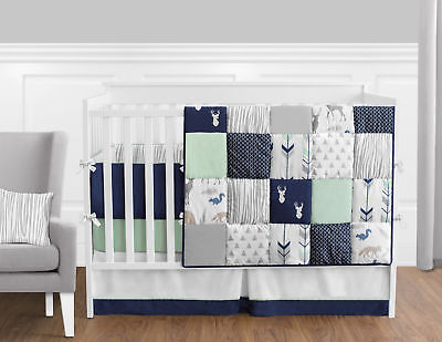 Sweet Jojo Designs 9-Piece Navy Blue, Mint and Grey Woodsy D