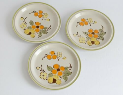 Boho Kitchen Set 3 Salad Plates Harvest Collection Mountain Flowers Floral Stone