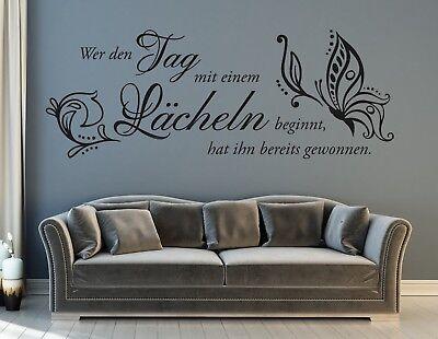 Wandtattoo Wohnzimmer Wandtatoo Spruch Wer den Tag mit einem Lächeln Flur pkm233