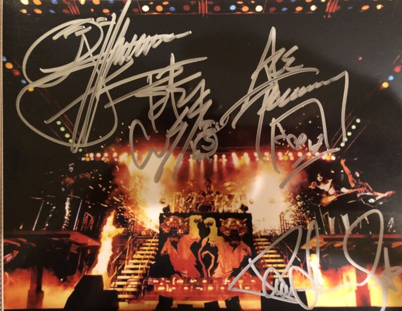 KISS Love Gun Era 8x10 Photo Originally Autographed By All Gene Paul Ace Peter