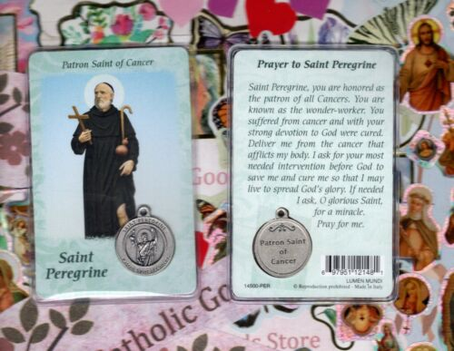 Saint St Peregrine with Medal & Prayer - Plastic Coated Holy Card
