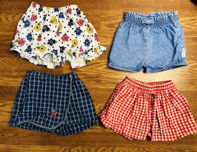 Vintage Toddler Girl 3T Oshkosh Healthtex Denim paper bag shorts skort skirt