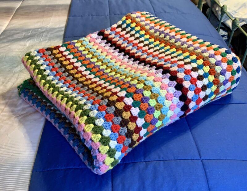 Vintage Handmade Oversized Crocheted Afghan